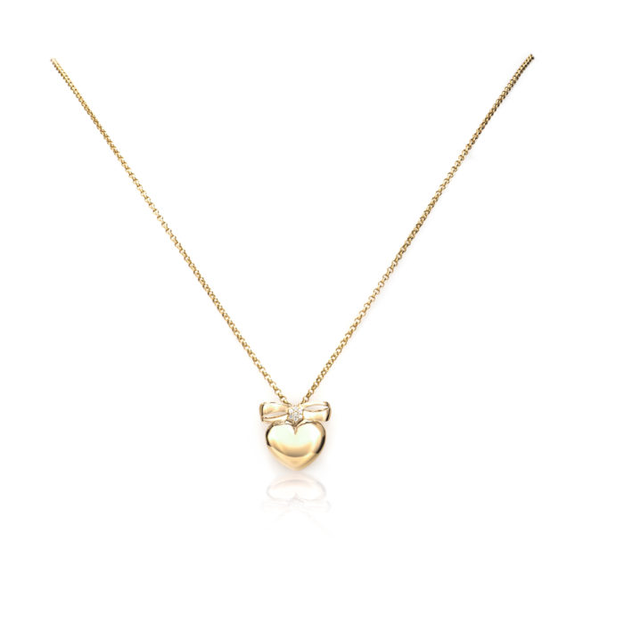 Bow Heart Pendant – 14k Yellow Gold in Diamonds