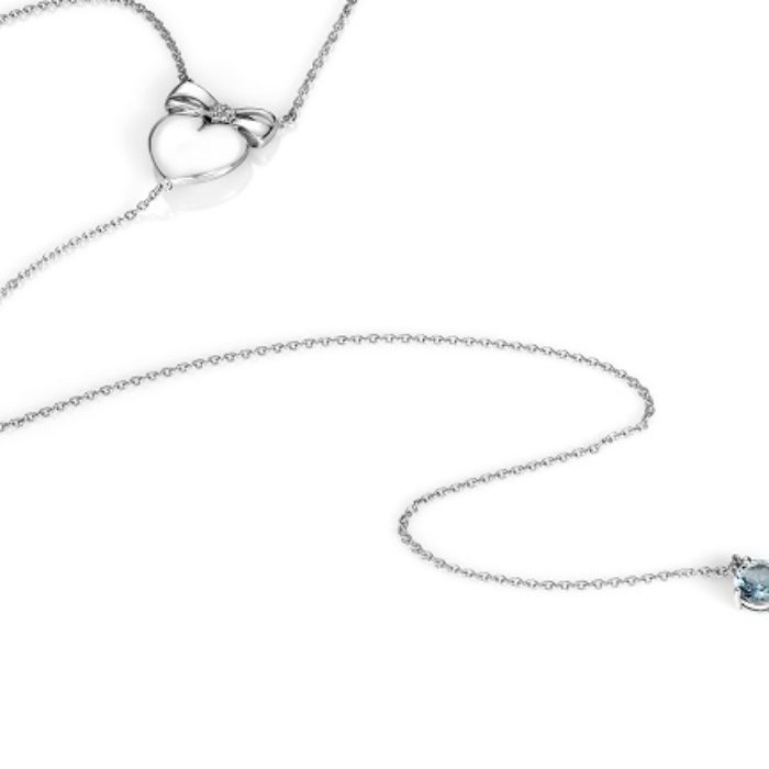 Bow Heart 5 inch Lariat – Sterling Silver in Diamonds and Aquamarine