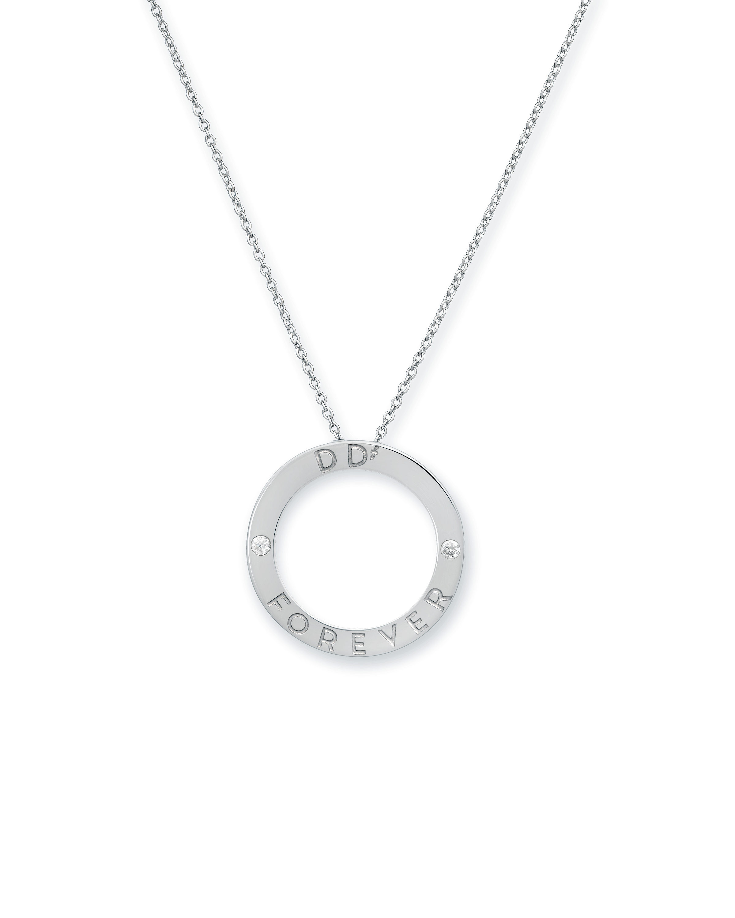 1f0d6302c684f8 DDf™ Forever Diamond Circle Necklace. Hand-Finished Sterling Silver ...